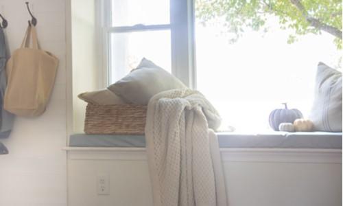 DIY no-sew window seat cushion