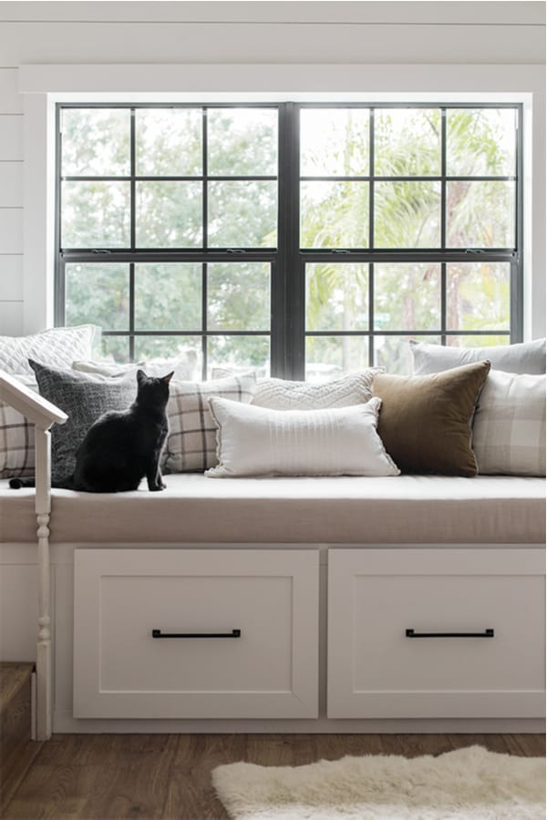 DIY window bench seat and reading nook