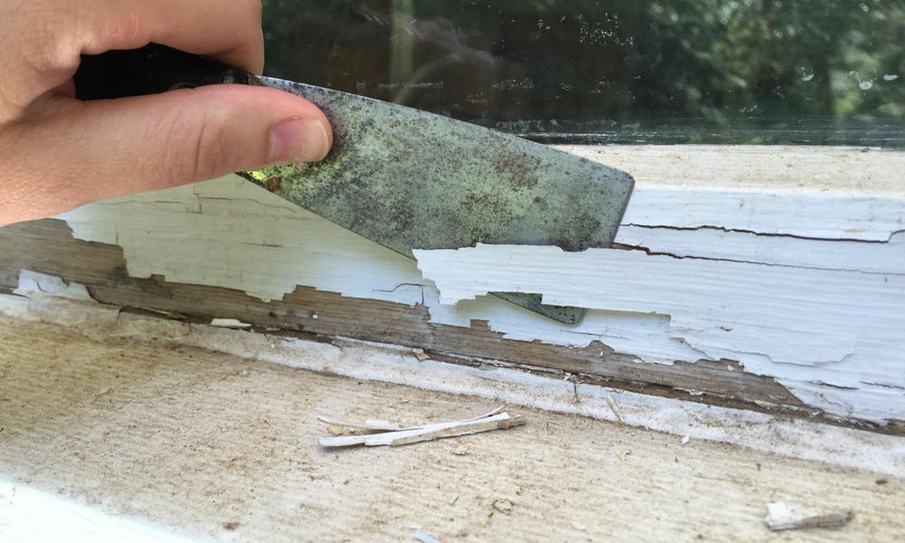 Scrape off the old paint