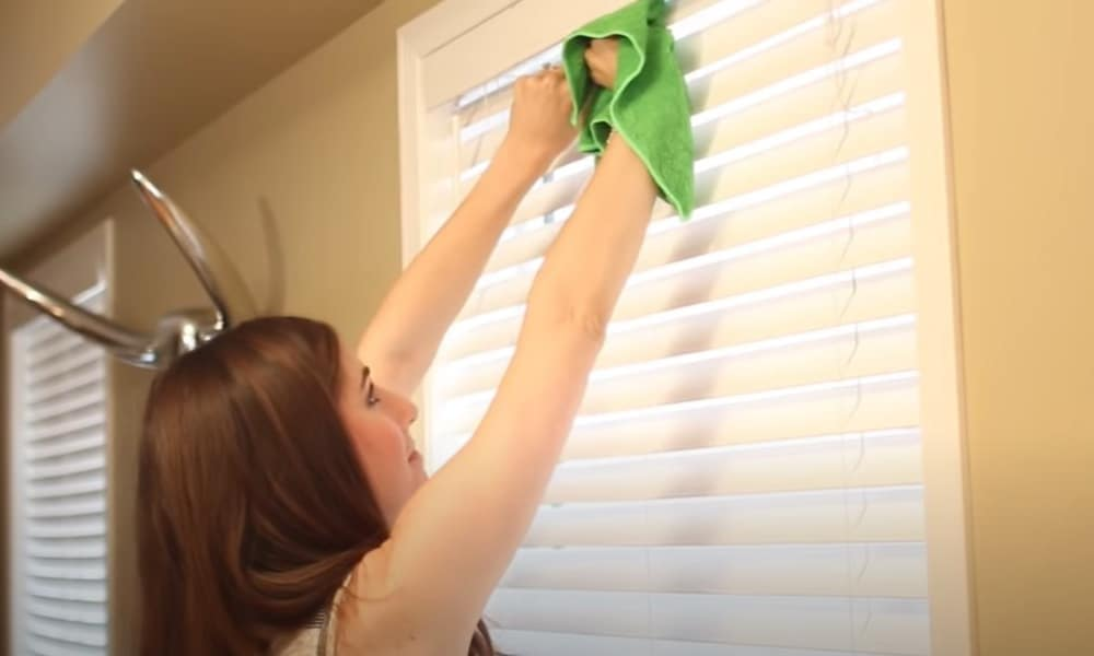 Run Microfiber Cloth Over the Blinds