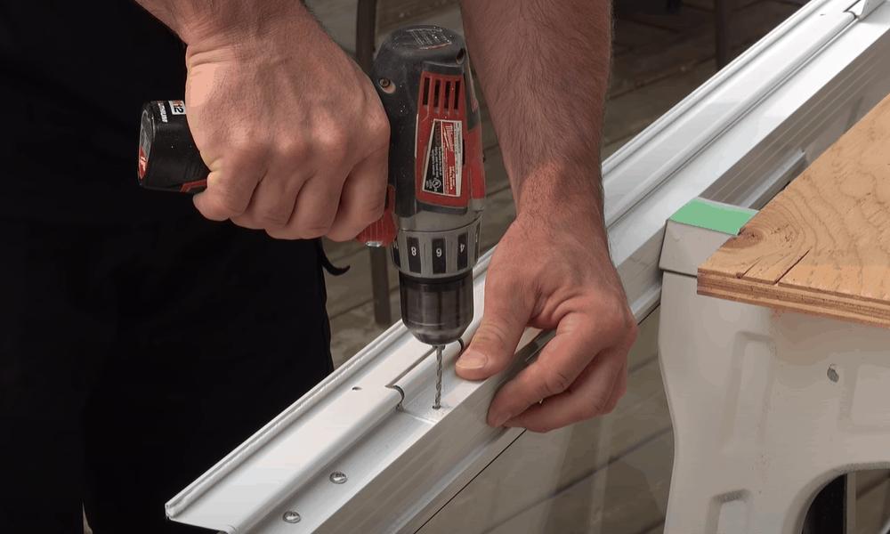 Attach z-bar to hinge side of door frame