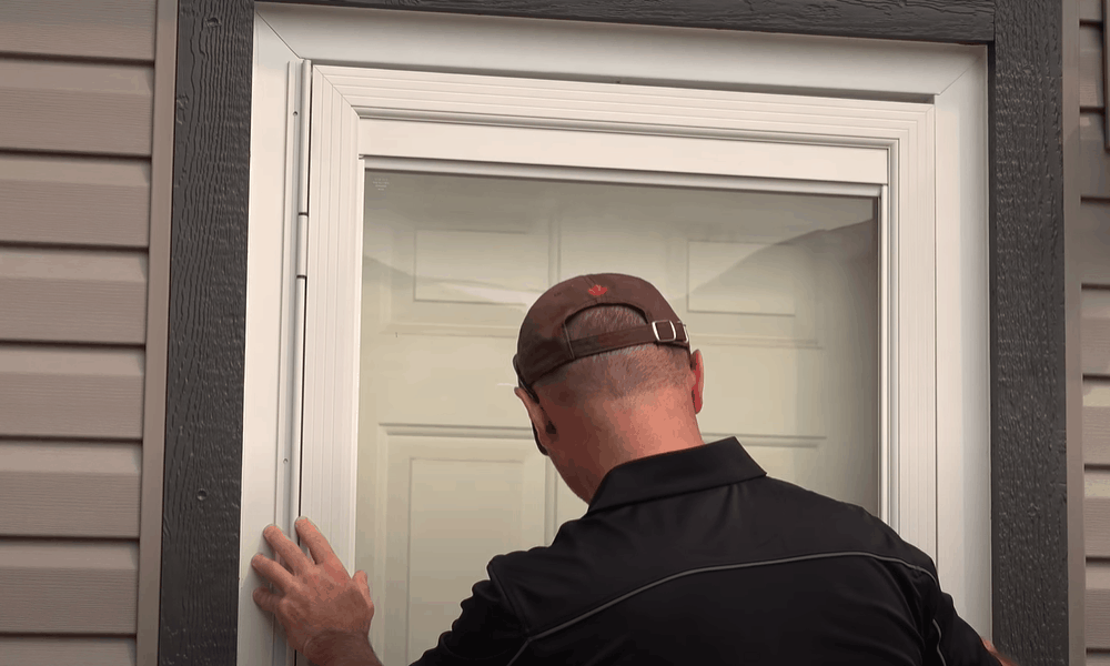 Fit the storm door into the opening