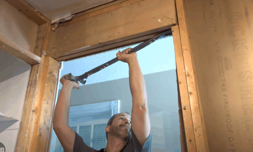 Remove the old door and frame