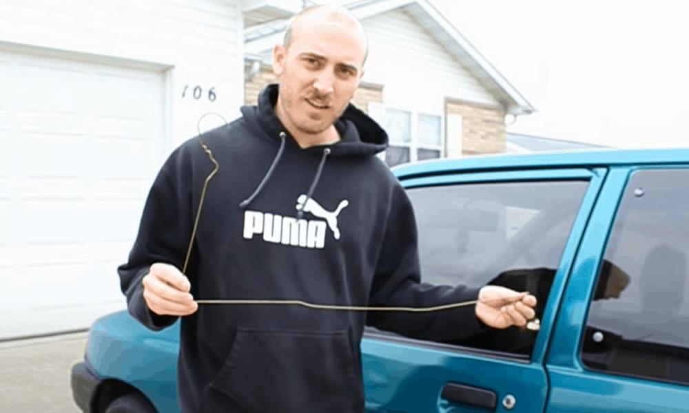 Unlock Your Car Using A Coat Hanger…