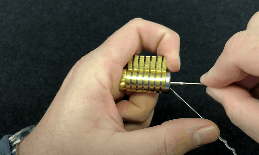 Use the lock picker to line up the pins inside the lock