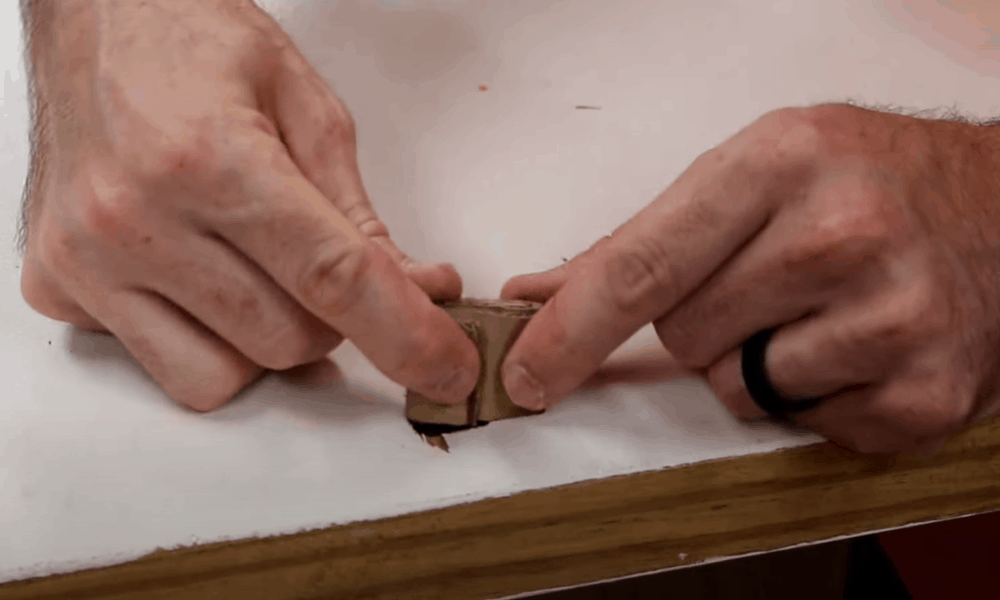 Apply wood filler onto the scratched area