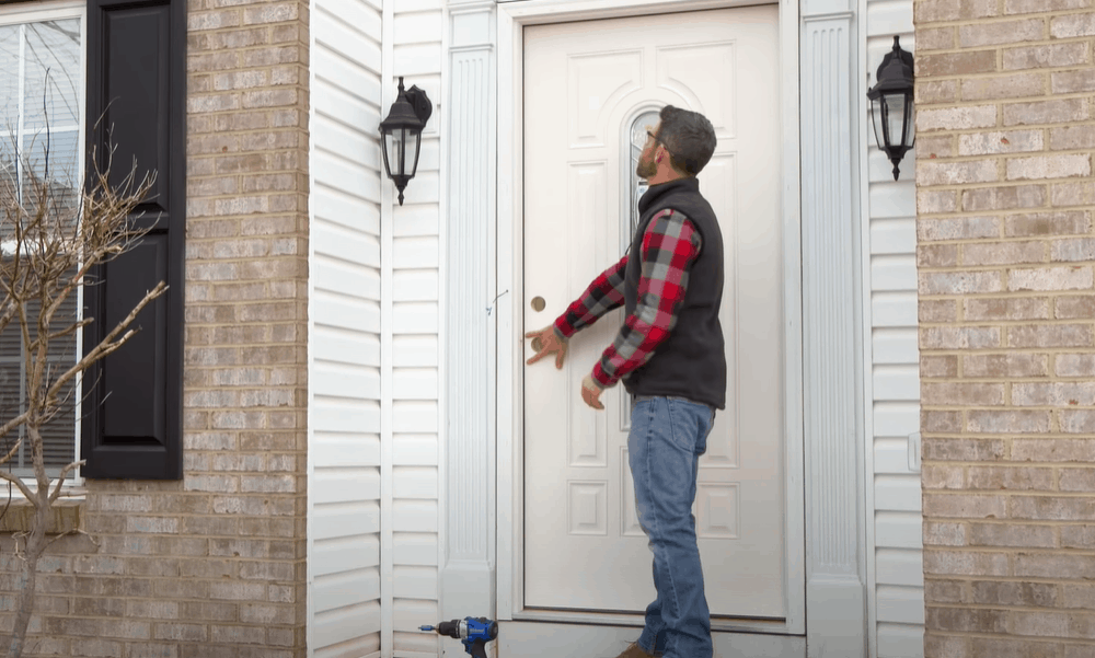 Assess the condition of the door after shimming