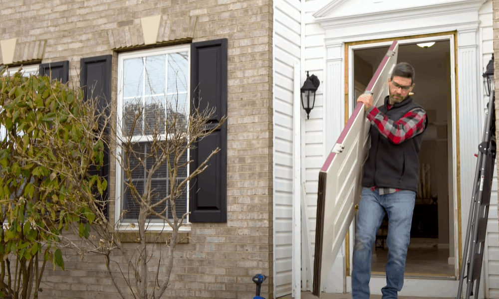 Take out the old door and frame