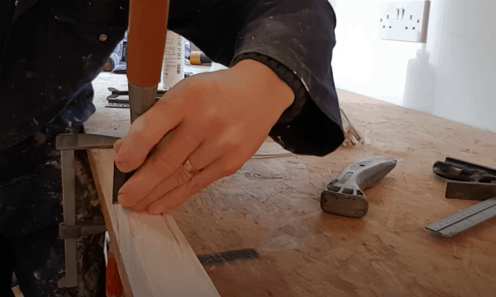 Create grooves on the outline with a utility knife