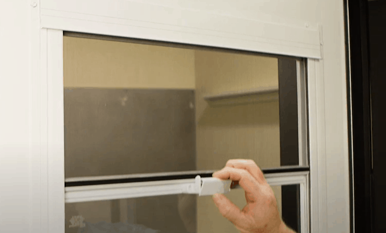 Self-storing Storm Door Screens and Glass Panels