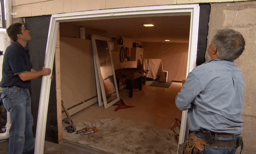 Set the new door frame into the opening