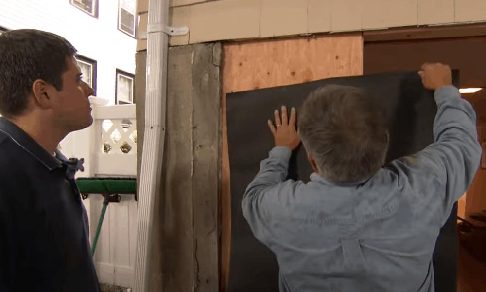 Weatherproof the door opening using flashing